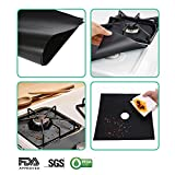 10-Pack Gas Stove Burner Covers, Non-stick Stovetop Burner Liners Gas Range Protectors for Kitchen- Size 10.6' x 10.6'-Double Thickness 0.2mm, Cuttable, Dishwasher Safe, Easy to Clean