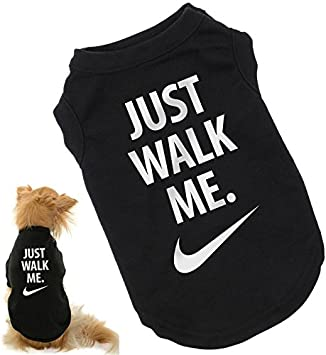 Imperial reacción lila  Bertie's Brand Just Walk Me dog t-shirt, Nike Just Do It parody, med/large  size M (27/29 in chest, cocker spaniel size): Amazon.co.uk: Pet Supplies