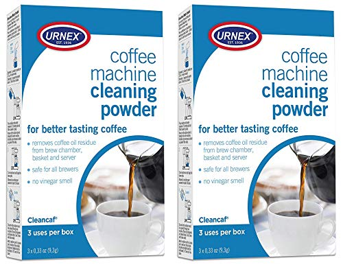 Urnex Coffee Maker and Espresso Machine Cleaner Cleancaf Powder - 2 Pack (6 Packets) - Safe on Keurig Delonghi Nespresso Ninja Hamilton Beach Mr Coffee Braun (Clean Coffee Maker)
