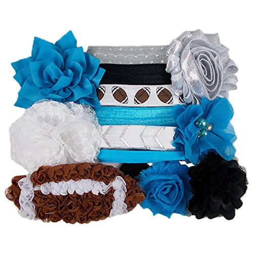 Carolina Panthers - Mini DIY Headband Kit - Makes 6 Headbands - Baby Shower Headband Station - Fashion Headbands for Birthday Party & Baby Shower - College In Shopping Station