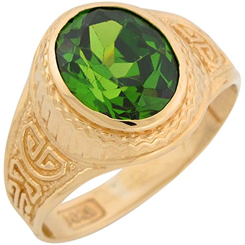 Jewelry Liquidation 10k Yellow Gold Simulated Peridot Greek Design August Birthstone Mens Ring