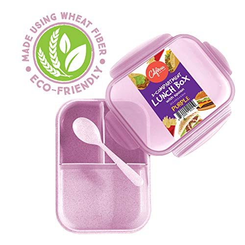 Bento Box Lunch Container, 3 Compartment Food Box for Meal Prepping, Reusable Meal Prep Container with Spoon & Purple Lid, Food Prep Lunchbox for Kids & Adults, Divided Food Storage Container with Lid