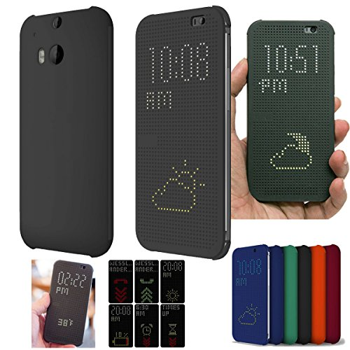 Microtimes FOR HTC ONE M8 2014 DOT VIEW HC M100 FLIP CASE COVER (Black)