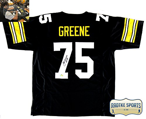 Joe Greene Autographed/Signed Pittsburgh Throwback Black Custom Jersey with