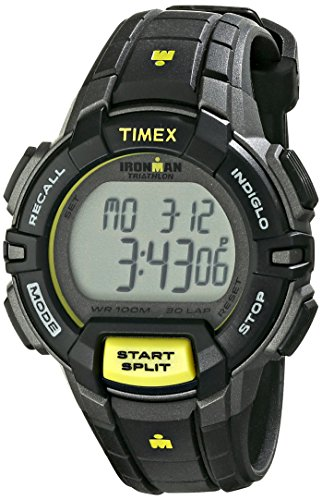 - Timex Women's T5K809 Ironman Rugged 30 Mid-Size Black/Lime Resin Strap Watch