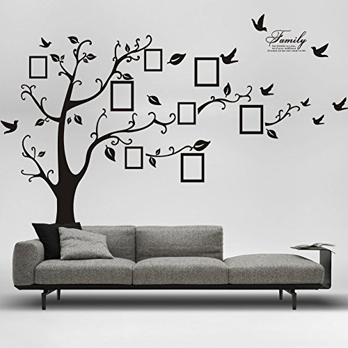 Picture Frame Tree Removable Wall Decor Decal Sticker (BLACK, 1) (Tree Picture Wall Frame Decal)