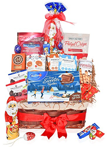 Christmas Chocolate & Cookie Variety Gift Basket - Santa, Ghirardelli Hot Cocoa, Pretzel Crisps, Stroopwafels, Brookside and more - Christmas Gifts for Family, Friends, Him, Her