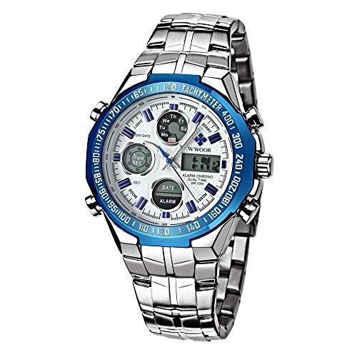 (WWOOR Men's Watch Sport Chronograph Watch Waterproof Analog Quartz Digit Stainless Steel Business Casual Gift Watch Wristwatch)