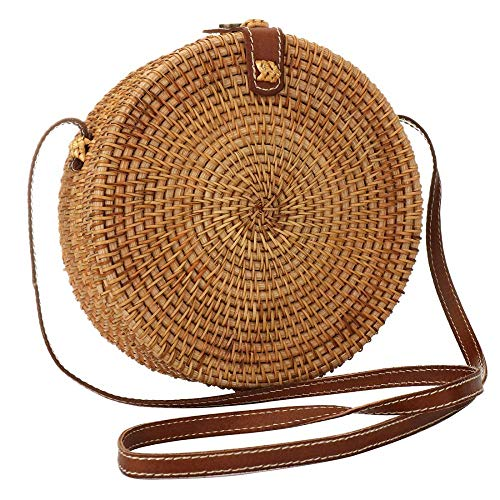 (Puedo Round Woven Ata Rattan Bag Linen Inside and Leather Button (with Genuine Leather Strap))