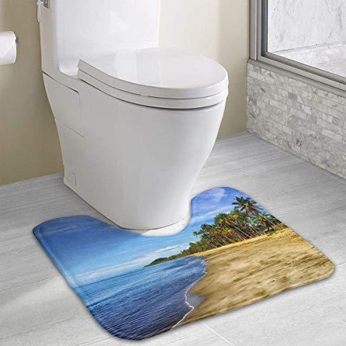 Beauregar Fiji Contour Bath Rugs,U-Shaped Bath Mats,Soft Memory Foam Bathroom Carpet,Nonslip Toilet Floor Mat 19.2″x15.7″