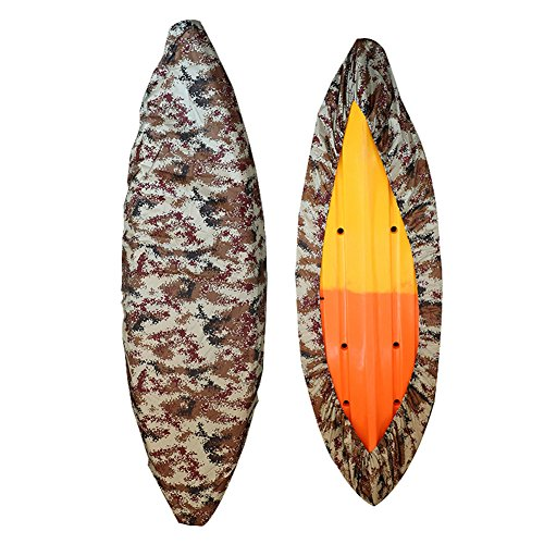 GYMTOP 7.8-18ft Waterproof Kayak Canoe Cover Camouflage - Outdoor Storage Dust Cover UV Protection Sunblock Shield for Fishing Boat/Kayak/Canoe [7 Sizes] (sand digital, suitable for 12.3-13.5ft boat)
