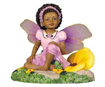 African American Kids Figurines Child Fairy Lavender