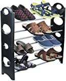 BLISS 4 Layer Portable Shoe Rack / Shoe Cabinet / Shoe Organizer, Foldable, Black