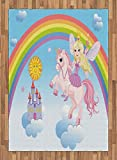 Fantasy Area Rug by Lunarable, Happy Princess on a Unicorn in Clouds with Rainbow Fairy Tale Kingdom Girls Image, Flat Woven Accent Rug for Living Room Bedroom Dining Room, 5.2 x 7.5 FT, Multicolor