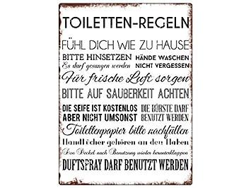 Amazonde Wandschild Metallschild Toiletten Regeln Lustig