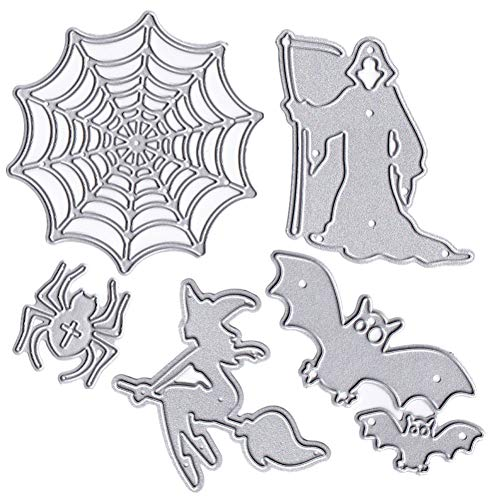 6 Pack Halloween Metal Cutting Dies Spooky Witch Spider Web Death Sickle Embossing Stencil for DIY Gift Cards Making Scrapbooking Craft -