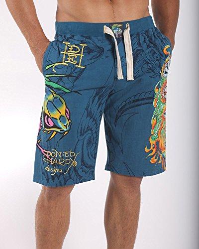 Ed Hardy Lounge Flaming Tiger 2 Jersey Jams (Blue, S)