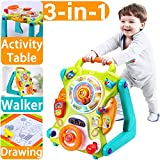(US) iPlay, iLearn Baby Sit to Stand Walkers Toys, Kids Activity Center, Toddlers Musical Fun Table, Lights 'n Sounds, Learning, Birthday Gift for 6, 9, 12, 18 Month, 1, 2 Year Olds, Infants, Boys, Girls