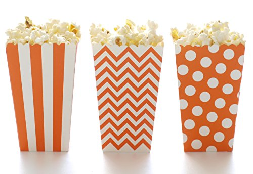 Popcorn Boxes, Orange Design Trio (36 Pack) - Miniature Scalloped Edge Cardboard Party Candy Container / Treat Cartons -