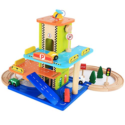 SXPC Simulation Wooden Three-Layer Stereo Track Parking lot Set Wooden DIY Assembled Building Blocks Toys Birthday Gift