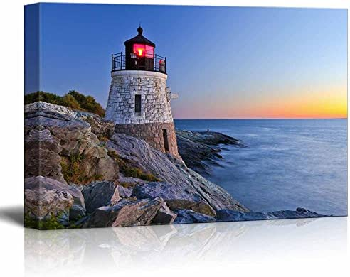 Beautiful Lighthouse by The Ocean at Sunset Wall Decor