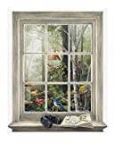 York Wallcoverings KR2622M Bird Watching Trompe L'Oiel Window Wall Accent, Mural