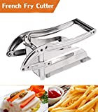 Oanon Professional French Fry Cutter, Stainless Steel Potato Slicer With 2 Blades & Suction, Easy Slicing Potato Chopper for Vegetables Cucumber Carrot Onion