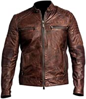 Leather Hub Men&39s Lambskin Vintage Distressed Brown Leather Biker
