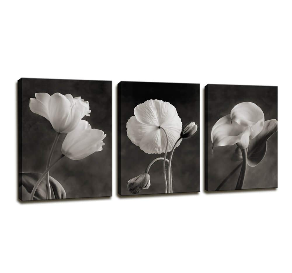 Canvas Wall Art Contemporary Simple Life White Flower Lily Painting Wall Art Decor - 3 Panels Framed Canvas Prints Black and white Style Giclee Artwork Ready to Hang Home Decorations Office Decor Gift