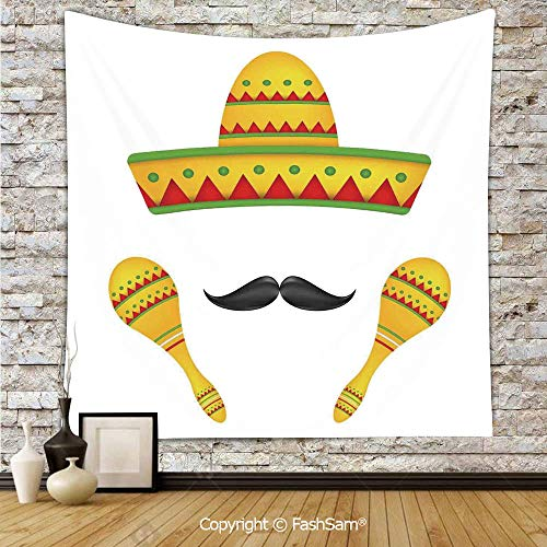 FashSam Polyester Tapestry Wall Famous Centerpiece Icons Sombrero Moustache Rumba Shaker Mesoamerican Image Hanging Printed Home Decor(W59xL90) -