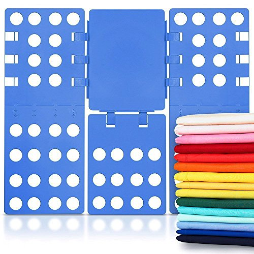 Osa Clothes Folding Board, Plastic Adjustable T-Shirt Folder Fast and Easy fold for Thickness Shirt, Laundry Folder Board Organizer, Blue