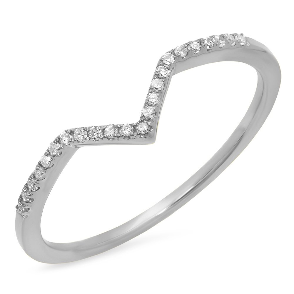0.10 Carat (ctw) 10K White Gold Round Diamond Wedding Stackable Guard Chevron Ring 1/10 CT (Size 5)