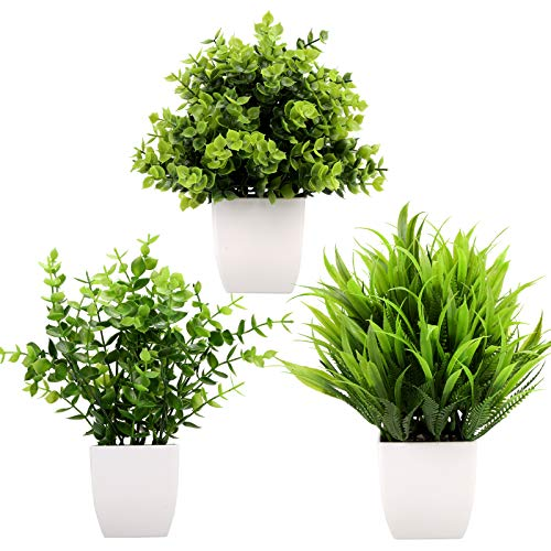 Greentime 3Pack Mini Fake Plants in Pots,Artificial Plastic Eucalyptus Plants,Wheat Grass Potted Faux Plants Indoor for…