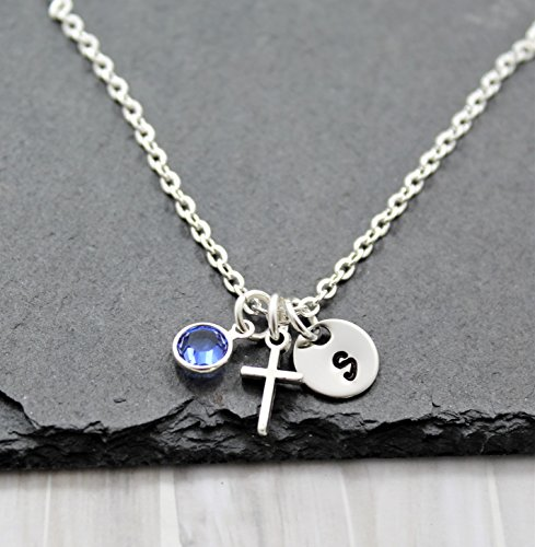 Tiny Cross Necklace for Women - Personalized Birthstone & Initial - Baptism Gifts for Girls - Fast Shipping (Necklace Birthstone Personalized Cross)