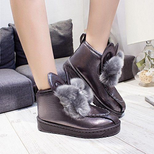 Maybest Cute Snow Botas Bowtie Mujer Botines Invierno Plataforma Slip On Flats Warm Casual Creepers Gris