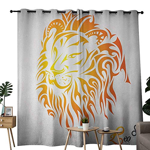 "NUOMANAN Blackout Curtains Astrology,Leo Zodiac Sign on Plain Background Sun Mystic Lion King Self Power Universe Theme,Orange,for Bedroom,Nursery,Living Room 84""x100"""