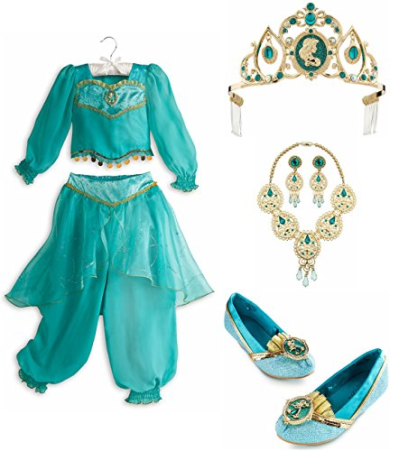 [Disney Store Jasmine Set: Costume Size Medium 7/8, Shoes 13/1, Jewelry & Tiara] (Princess Jasmine Costumes Tiara)