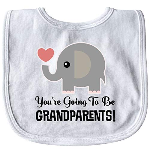 Inktastic Going to Be Grandparents Announcement Baby Bib White