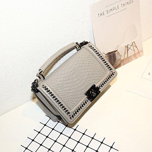 GUANGMING77 Schlangenkette Bag_Schlangenkette Tasche Xiekua Paket Bag Hand Seil Light grey uAwwVWEM