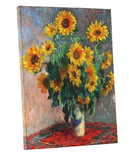 Niwo Art (TM) - Bouquet of Sunflowers, by Claude Monet - Oil painting Reproductions - Giclee Canvas Prints Wall Art for Home Decor, Stretched and Framed Ready to Hang