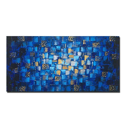 MyArton Large Thick Abstract Dark Blue add Golden&Silver Square Wall Art Hand Painted Artwork Textured Oil Painting on Canvas Framed Ready to Hang 60x30inch