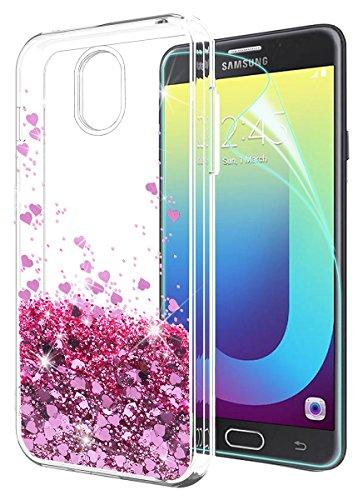 Stars Design Protector Case (Samsung Galaxy J7 2018 Case with HD Screen Protector,Galaxy J7 Aero/J7 Top/J7 Refine/J7 Eon/J7 Star/J7 Crown/J7 Aura Case,SunStory Moving Shiny Quicksand Glitter Design(Rose Gold))