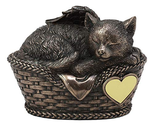 Ebros Heavenly Angel Cat Sleeping in Wicker Bed Basket Cremation Urn Pet Memorial Statue Decor Figurine 6.5 Inch Long