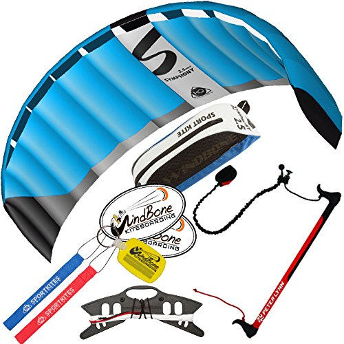 HQ Symphony Pro 2.5 Kite Neon Blue w Control Bar Bundle (4 Items) + Peter Lynn 2-Line Control Bar w Safety Leash + WindBone Kiteboarding Lifestyle Stickers + WBK Key Chain - Foil Traction Trainer Kit by HQ Power Kites, Peter Lynn, WindBone