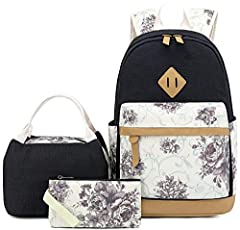 "Product introduction: Size: School Backpack: 11.8""x6.7""x17.3""(L*D*H) Tote Bag: 9""x4.8""x8.25""(L*D*H) Purse: 7""x0.4""x4.3""(L*D*H)  This teens girls backpack can compatible for a laptop up to 14""  The pencil bag can fit a lot of pens and pencils..."
