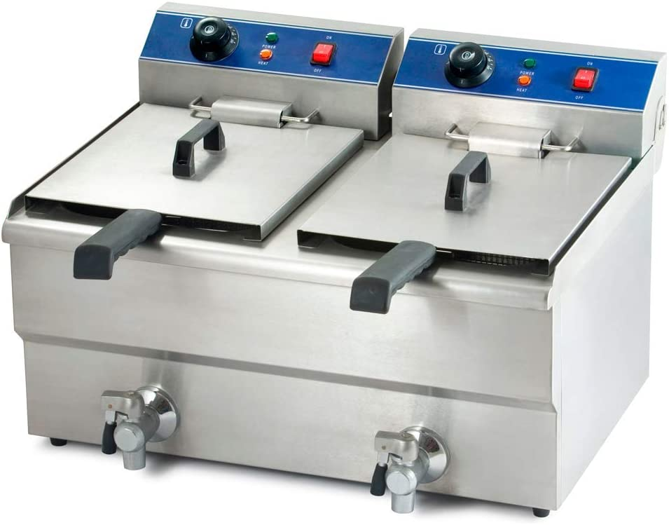 Freidora industrial eléctrica grifo doble 20 L - Maquinaria Bar Hostelería: Amazon.es: Hogar