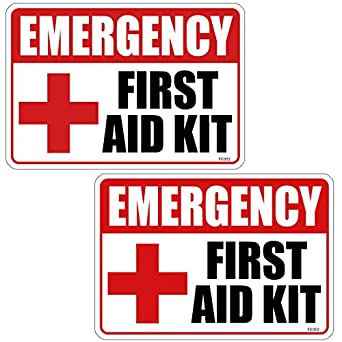 FIRST AID KIT Pack Stickers RED CROSS Window Door Wall Safety - Window alert decals amazon