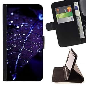 BullDog Case - FOR/Samsung Galaxy S5 V SM-G900 / - / leaf water droplets blue night moonlight /- Monedero de cuero de la PU Llevar cubierta de la caja con el ID Credit Card Slots Flip funda de cuer