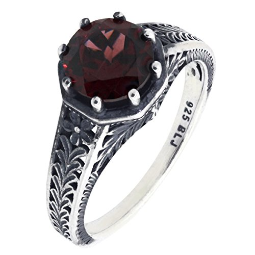BL Jewelry Vintage Style Art Deco Sterling Silver Round Cut Natural Mozambique Garnet Filigree Ring (2.5 CT.T.W) ()