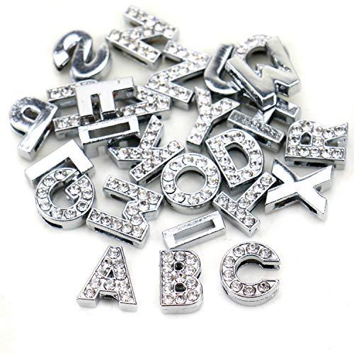 JETEHO Pack of 52pcs Alphabet A-Z Letters Crystal Floating Charms fA-Z Letter Slide Charm